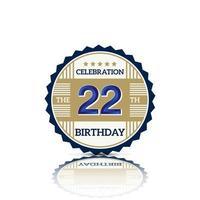 Illustration de conception de logo anniversaire 22 ans vecteur