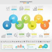 modèle de conception infographie entreprise. illustration vectorielle. peut être utilisé pour la mise en page du flux de travail, le diagramme, les options numériques, les options de démarrage, les conceptions Web. vecteur