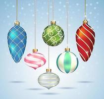 ornements de boules de Noël suspendus sur du fil d'or. illustrations vectorielles. vecteur