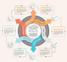 Modèle d'infographie de cercle de flèche en 6 étapes. illustration vectorielle. peut être utilisé pour la mise en page du flux de travail, le diagramme, les options numériques, la conception Web et la chronologie. vecteur