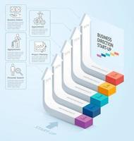 démarrer la direction de l'escalier d'entreprise. illustration vectorielle. peut être utilisé pour la mise en page du flux de travail, la bannière, les options de nombre, les options d'intensification, la conception Web, l'infographie, la chronologie et le modèle de diagramme. vecteur