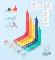 modèle d & # 39; infographie de flèches d & # 39; entreprise. peut être utilisé pour la mise en page du flux de travail, le diagramme, les options numériques, la conception Web et la chronologie. vecteur