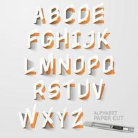 dessins découpés en papier alphabet majuscules vecteur