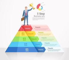 entreprise gagner illustration vectorielle de conception conceptuelle. homme d & # 39; affaires debout au sommet de l & # 39; infographie de triangle.