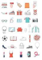 achats en ligne icône couleur fine ligne style illustration vectorielle.