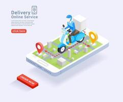 service de livraison en ligne par concept isométrique de scooter. illustration vectorielle. vecteur