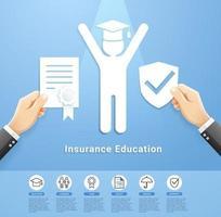 conception conceptuelle des services de police d'assurance-éducation. illustrations vectorielles papier découpé style. vecteur