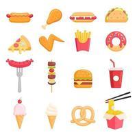 icônes de couleur de restauration rapide illustrations vectorielles vecteur