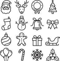 ensemble d'icônes de Noël. illustration vectorielle.