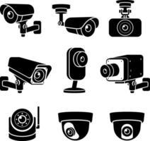 icônes de caméra de vidéosurveillance. illustrations vectorielles.
