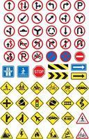 ensemble d'icônes de panneaux routiers. illustration vectorielle. vecteur