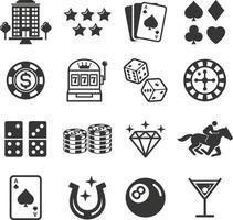 icônes de casino. illustrations vectorielles.