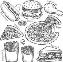 éléments de doodle de restauration rapide style dessiné à la main. illustrations vectorielles. vecteur