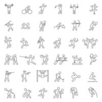 ensemble d'icônes de ligne de sport. illustration vectorielle. vecteur