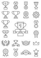 icônes de ligne de trophée. illustrations vectorielles. vecteur