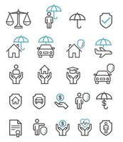 icônes de ligne de jeu d'assurance. vecteur