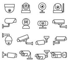 Jeu d'icônes de ligne de caméra de vidéosurveillance. vecteur