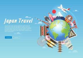 japon monuments célèbres autour de fond de voyage globe vecteur
