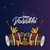 vaisakhi dhol réaliste et fond vecteur