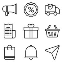 jeu d & # 39; icônes de contour de commerce électronique