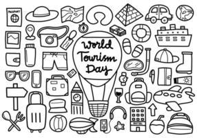 doodle de la journée mondiale du tourisme vecteur