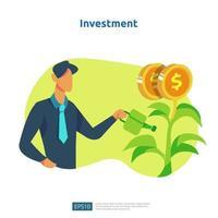 financer la performance du retour sur investissement ROI. illustration de concept d'augmentation de taux de salaire de revenu avec le caractère et la flèche de personnes. la croissance des bénéfices de l'entreprise, la vente augmente les revenus de marge avec le symbole du dollar vecteur