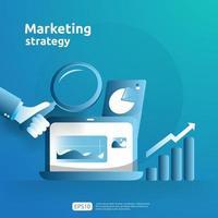 croissance de l'entreprise et retour sur investissement ROI. concept de stratégie de marketing numérique avec table, objet graphique sur écran d'ordinateur. graphique augmenter le profit. illustration vectorielle de bannière style plat vecteur