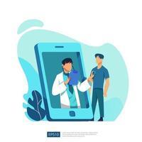 service de soins de santé en ligne et conseils médicaux. appel et chat concept de support de diagnostic de médecin. modèle pour page de destination Web, bannière, présentation, social, affiche, publicité, promotion ou médias imprimés