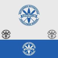 modèle de conception de logo de club de kayak vecteur