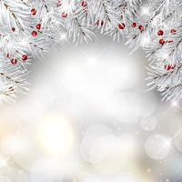 Branches de sapin de Noël argentées et baies sur feux de bokeh backg