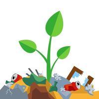 pousse pousse sur un tas d'ordures. pollution de la nature. illustration vectorielle plane. vecteur