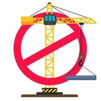 construction de panneaux d'arrêt. grue de construction croisée. illustration vectorielle plane vecteur