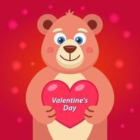 ours en peluche brun avec un cœur dans ses pattes. déclaration d'amour. illustration vectorielle plane.