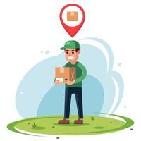 courrier avec un colis entre ses mains. marqueur d'emplacement de courrier en ligne. illustration vectorielle de caractère plat. vecteur