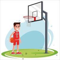 un homme dans la cour joue au basketball. panier de basket-ball d'équipement. illustration vectorielle plane. vecteur