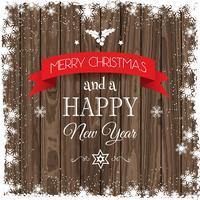 Fond de Noël avec bordure enneigée et texture en bois