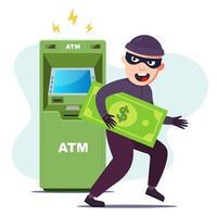 le voleur a volé de l'argent à un guichet automatique. piratage du terminal pour voler. illustration vectorielle de caractère plat. vecteur
