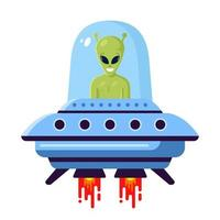 alien mignon vert dans un ovni sur fond blanc. illustration vectorielle plane vecteur