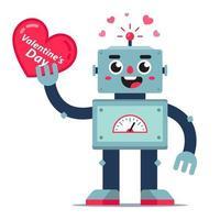 mignon robot tient un coeur dans sa main. carte pour la Saint Valentin. caractère de vecteur plat.