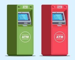 deux guichets automatiques nécessitent un mot de passe pour retirer de l'argent. illustration vectorielle plane
