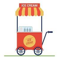 chariot rouge avec de la crème glacée dans la rue. petite entreprise. illustration vectorielle plane. vecteur