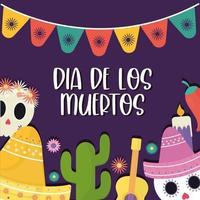 bannière mexicaine de la fête des morts vecteur