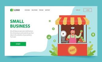 page de destination comment ouvrir votre petite entreprise. un étal avec des fruits et un vendeur à l'intérieur. illustration de vecteur plat web