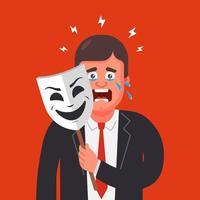 un homme en costume cache ses émotions derrière un masque. cachez les larmes. illustration vectorielle de caractère plat. vecteur