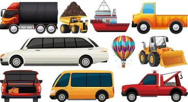 ensemble de différents types de voitures et de camions isolés sur fond blanc vecteur