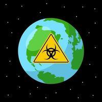 catastrophe biologique sur la planète terre. icône plate de l'infection globale. illustration dans l'espace vecteur