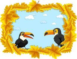 modèle de bannière de feuilles jaunes avec personnage de dessin animé toucan