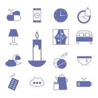 ligne d'insomnie et jeu d'icônes de style de remplissage