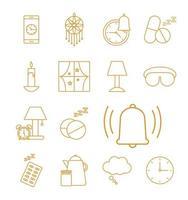 jeu d'icônes de style ligne insomnie