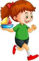 personnage de dessin animé fille heureuse tenant un bateau jouet
